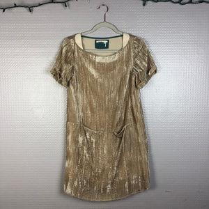 Anthropologie | Floreat Crinkled Velvet Shift Dres